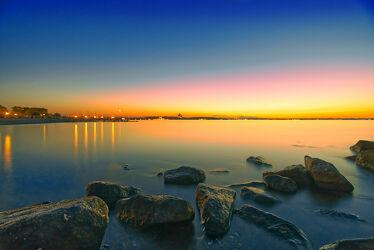 Bild mit Sonnenuntergang, Wellenbrecher, Meerblick, Ostsee, Lübecker Bucht, Steine, Sunset, Timmendorf, Timmendorfer Strand, Niendorf