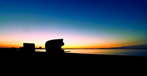 Bild mit Sonnenuntergang, Meerblick, Strandkörbe, Panorama, Ostsee, Lübecker Bucht, Sunset, Timmendorf, Timmendorfer Strand, Niendorf