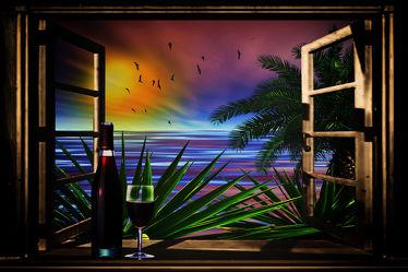 Bild mit Sonnenuntergang, Urlaub, Palmen, Fenster, Sonne, Meer, Abend, Wein, Abendstimmung, Party