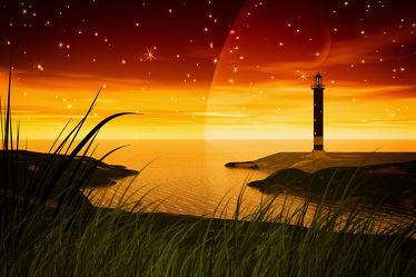 Bild mit Sonnenuntergang, Leuchttürme, Meer, Illustration, Wasserlandschaften, Design, Leuchtturm