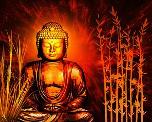 Bild mit Rot, Meditation, Ruhe, Buddha, Spa, Kraft, zen