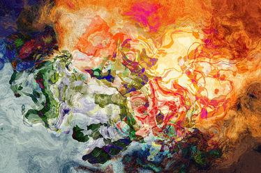 Bild mit Kunst, Eis, Feuer, Bunt, art, Impressionismus, acrylic art