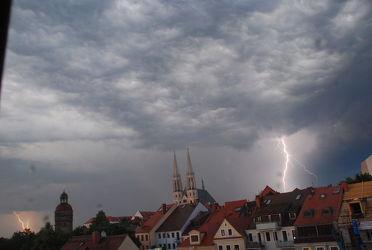 Bild mit Städte, Stadt, Görlitz, Altstadt, Peterskirche, Gewitter, City, sturm, Görlitzer, Blitze, Blitz, Donner