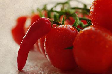 Angelehnt Tomaten und Chili im Mix