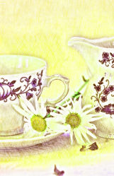 Cup with jug and flowers