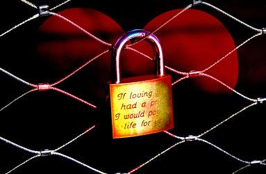 Love u-lock on the fence