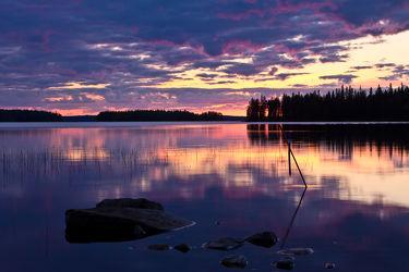 Abend am See Lentua, Finnland