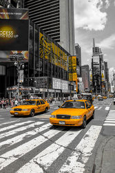 Bild mit New York, Colorkey, Verkehr, wolkenkratzer, Auto, Hochhäuser, taxi, Taxis, NYC, Manhatten, traffic, yellow cap