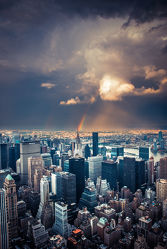 Bild mit Regenbögen, New York, USA, VINTAGE, Skyline, rainbow, NYC, Manhatten