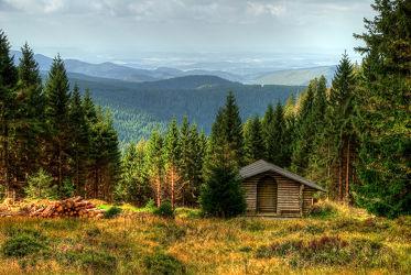 Bild mit Berge und Hügel, Berge, Hügel, Wiese, Feld, Felder, Harz, berg, Wiesen, Weide, Weiden, Gebirge, Häuschen, Hütte, Oberharz