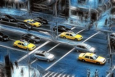 Bild mit Autos, Architektur, Straßen, Stadt, New York, Staedte und Architektur, USA, hochhaus, wolkenkratzer, Straße, Hochhäuser, Manhattan, Brooklyn Bridge, Yellow cab, taxi, Taxis, New York City, NYC, Gelbe Taxis, yellow cabs, 1st Ave