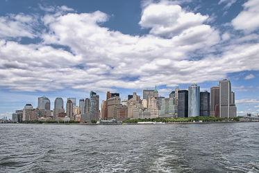 Bild mit Wasser, Gewässer, Schiff, New York, City, Staedte und Architektur, hochhaus, wolkenkratzer, Hochhäuser, Weltstadt, New York City, NYC, Manhatten, Grossstadt