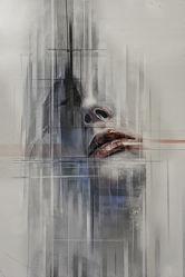 Bild mit Struktur, Abstrakt, Graffiti, Frau, detail, Mund, Wall, Sinne, sensitiv, Emotionen, Schoenheit, erotisch, Gesicht, Lippen, weiblich, Gemaelde, Streetart, Art u Gemaelde