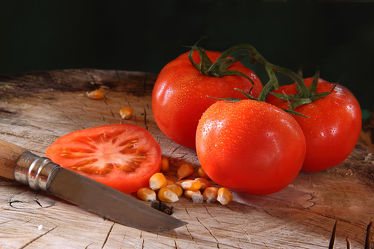 Bild mit Essen, Tomate, Tomaten, Gemüse, Food, Küchenbilder, KITCHEN, Küche, Mais