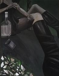 Bild mit Menschen, Hände, Füße, Beine, Kleidung und Accessoires, Alkohol, Flaschen, Schwarz, Flasche, Spiegelung, Menschen & Personen, Person, Sehnsucht, Psychologie