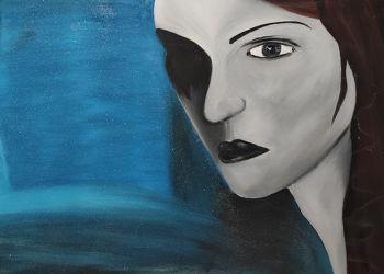 Bild mit Augen, Blau, Augenbrauen, Haare, Auge, Menschenauge, Trauer, Frau, Emotionen, Frauen, Glitzern, Langhaar, hübsche Frau, Gefärbte Haare, Ehefrau, Mädchen