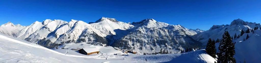 Bild mit Berge, Winter, Schnee, Österreich, Alpen, Vorarlberg, Panorama, Landschaft und Natur, Lech, Berggipfel, Wintersport