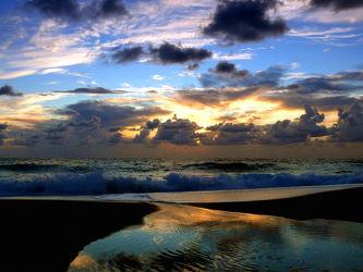 Bild mit Wolken, Strände, Wellen, Sonne, Strand, Meer, Spiegelung, Küste, Am Meer, Stille, Wattenmeer