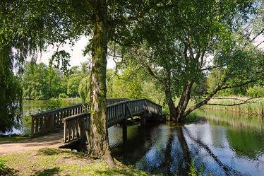 Bild mit Wasser, Pflanzen, Bäume, Gewässer, Flüsse, Sträucher, Wald, Brücke, Stille, Erholung, Schattenruheplatz, Holzbrücke, Wanderwege, Bäche