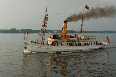 Bild mit Sonnenuntergang, Schiffe, Ostsee, Ausspannen, Flensburg, Dampf, Dampfschiffe, Heimkehr, Förde, Schaarhörn, Voll_Dampf
