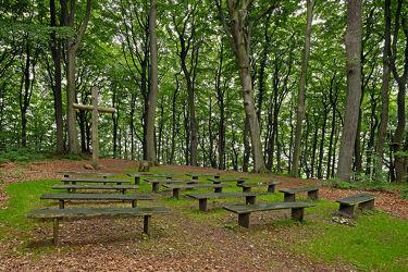 Bild mit Bäume, Kirchen, Wald, Wald, Baum, Kirche, Ruhe, Waldbestattung, Bänke, Frieden, Bestattung