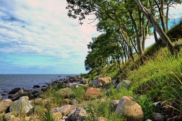 Bild mit Bäume, Brandung, Meerblick, Ostsee, Meer, Steine, Küste, Abendsonne, Steilküste, Felsbrocken, Fehmarn