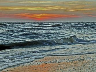 Bild mit Himmel, Gewässer, Wellen, Sonnenuntergang, Abendrot, Meer, Abendlicht, Dollart, Ems, Knock