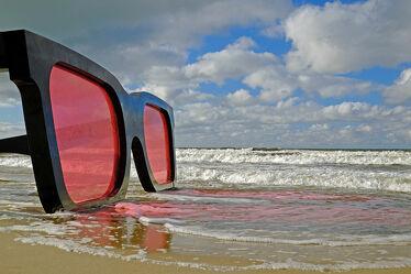 Bild mit Kunst, Wolken, Sonnenuntergang, Strand, Ostsee, Meer, Küste, Reisen, Natur Kunst Bilder, GENUSS, Ausspannen, Geniessen, Zingst, Abendhimmel, brille