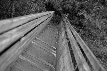 Holzbrücke GieÃ?enbachklamm, schwarz weiss Foto