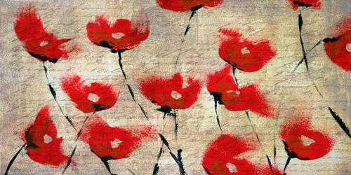 Bild mit Blumen, Mohn, Blume, Mohnblume, Klatschmohn, Mohnfeld, Feld, Felder, Mohnblumen, Kunst & Malerei, Mohnfelder, Mohnblumenfeld