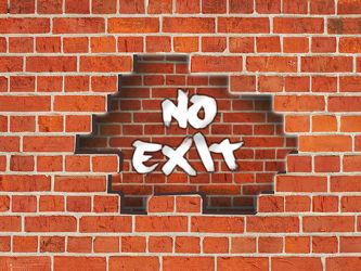 Bild mit Ziegelsteinwand,Kinderbild,Kinderzimmer,Kinder,kids,Showroom,Phantasie,Kein Eingang,no exit,Teenager,Teenies,Steinwand,Grafitti