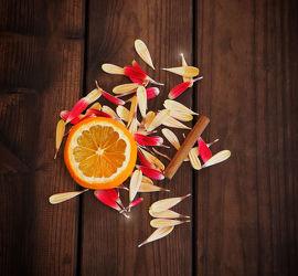 Bild mit Orange, Orangen, Blätter, Küchenbild, Blatt, Stillleben, Blüten, Küchenbilder, blüte, KITCHEN, Blütenblätter, Küche, Küchen