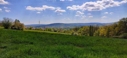 Bild mit Landschaften, Berge und Hügel, Himmel, Wolken, Frühling, Urlaub, Blau, Sommer, Wald, Wiese, landscape, Reisen, WOHNEN, Fotografie, Büro, franken, Stimmung, unterwegs