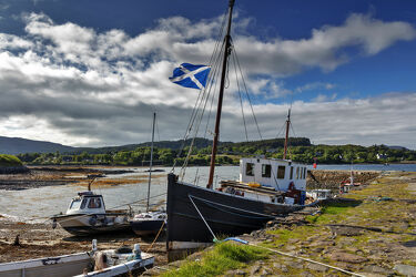 Bild mit Schiffe, Häfen, Meer, Wolkenhimmel, Boote, Schottland, Ebbe, Pier, Isle of Skye, Broadfort