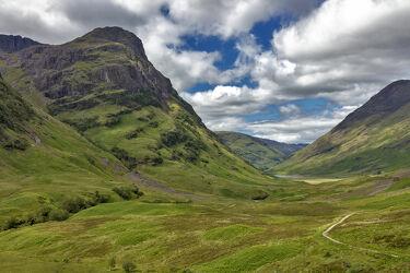 Bild mit Natur, Berge, Weiden und Wiesen, Landschaft, Schottland, Wiesen, Gebirge, tal, schottische highlands, glen coe