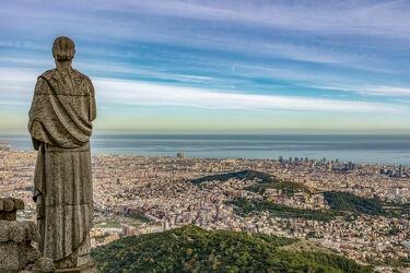 Bild mit Denkmäler und Statuen, Mittelmeer, Stadt, spanien, Statue, aussicht, Aussichtspunkt, Barcelona, Sagrat Cor, Tibidabo