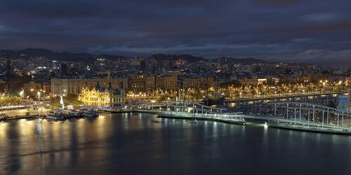 Bild mit Hafenanlage, Mittelmeer, Nachtaufnahmen, Nacht, spanien, Promenade, Lichter, Barcelona, Port Vell, Rambla de Mar