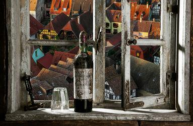 Bild mit Fenster, Haus, Stadt, rustikal, Altstadt, stadtansicht, Fensterblick, ausblick, aussicht, durchsicht