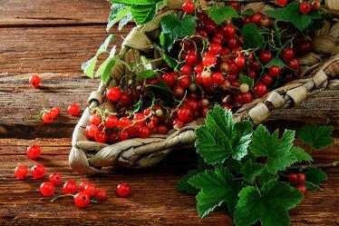 Bild mit Rot, Beeren, Frucht, Obst, rustikal, Küchenbild, Food, Johannisbeeren, holzuntergrund, johannisbeerblätter