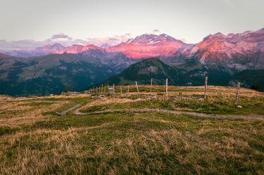 Bild mit Alpen, Alpen Panorama, Landschaftspanorama, Sonnenuntergang/Sonnenaufgang, pink, Abendlicht, rosa wolken