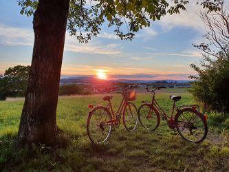 Bild mit Sonnenuntergang, Landschaft, romantik, Stilbild