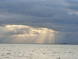 Bild mit Sonnenuntergang, Nordseeküste