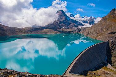 Bild mit Gletscher, Stauseen, Alpen, Spiegelung, Staudamm