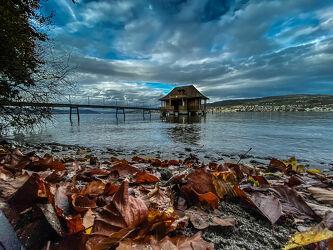 Bild mit Seen, Wolkenhimmel, Bootssteg, Laubblätter
