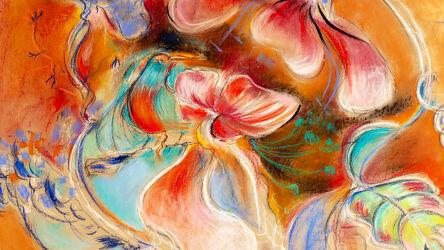 Bild mit Blumen, Figuren und Formen, Abstrakte Kunst, Abstrakte Malerei, Farbenfrohe Kunst