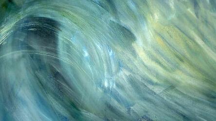 Bild mit Grün, Bögen, Abstrakte Kunst, Abstrakte Malerei, Welle, Kräftig, Wellen Ozean