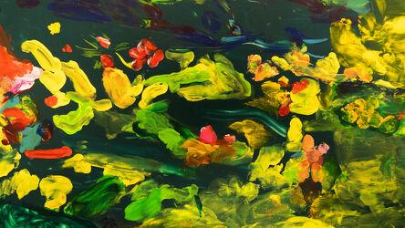 Bild mit Kunstwerk, Farbenfrohe Kunst, Abstraktes in Floral, Grüne Farben, Glasmalerei, Rote Farben
