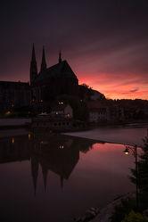 Bild mit Sonnenuntergang, Sonnenaufgang, Stadt, Kirche, Stadt Görlitz, Görlitz, Peterskirche, Görlitz und Umgebung, City, Fluss