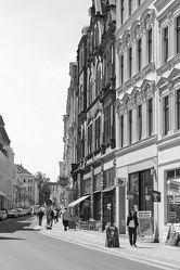 Bild mit Straßen und Wege, Görlitz, City, Architektur in Schwarzweiß, schwarz weiß, Görlitzer Altstadt