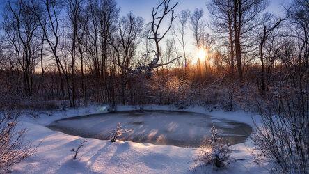 Bild mit Winter, Schnee, Sonnenaufgang, Panorama, Sonnenschein, Sonnenstrahlen, Moor, Lichtstimmung, Hammeniederung, Teufelsmoor